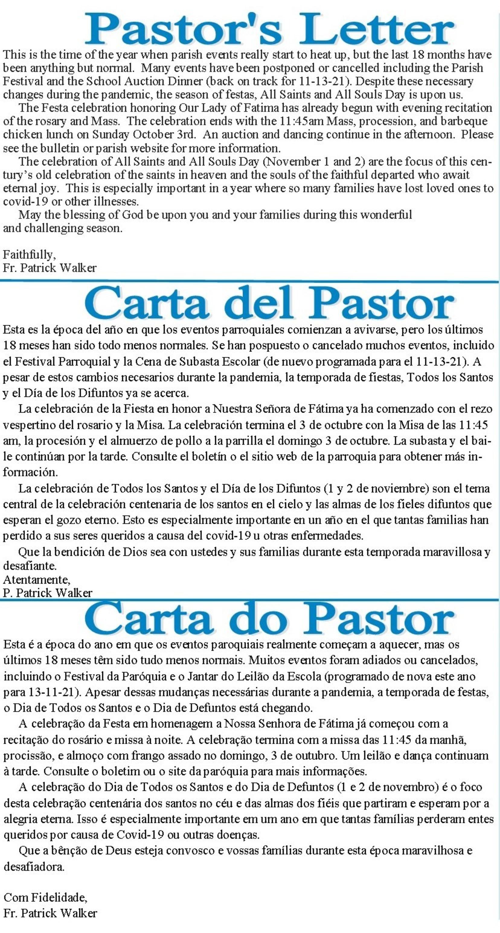 9 26 2021 Pastors Message