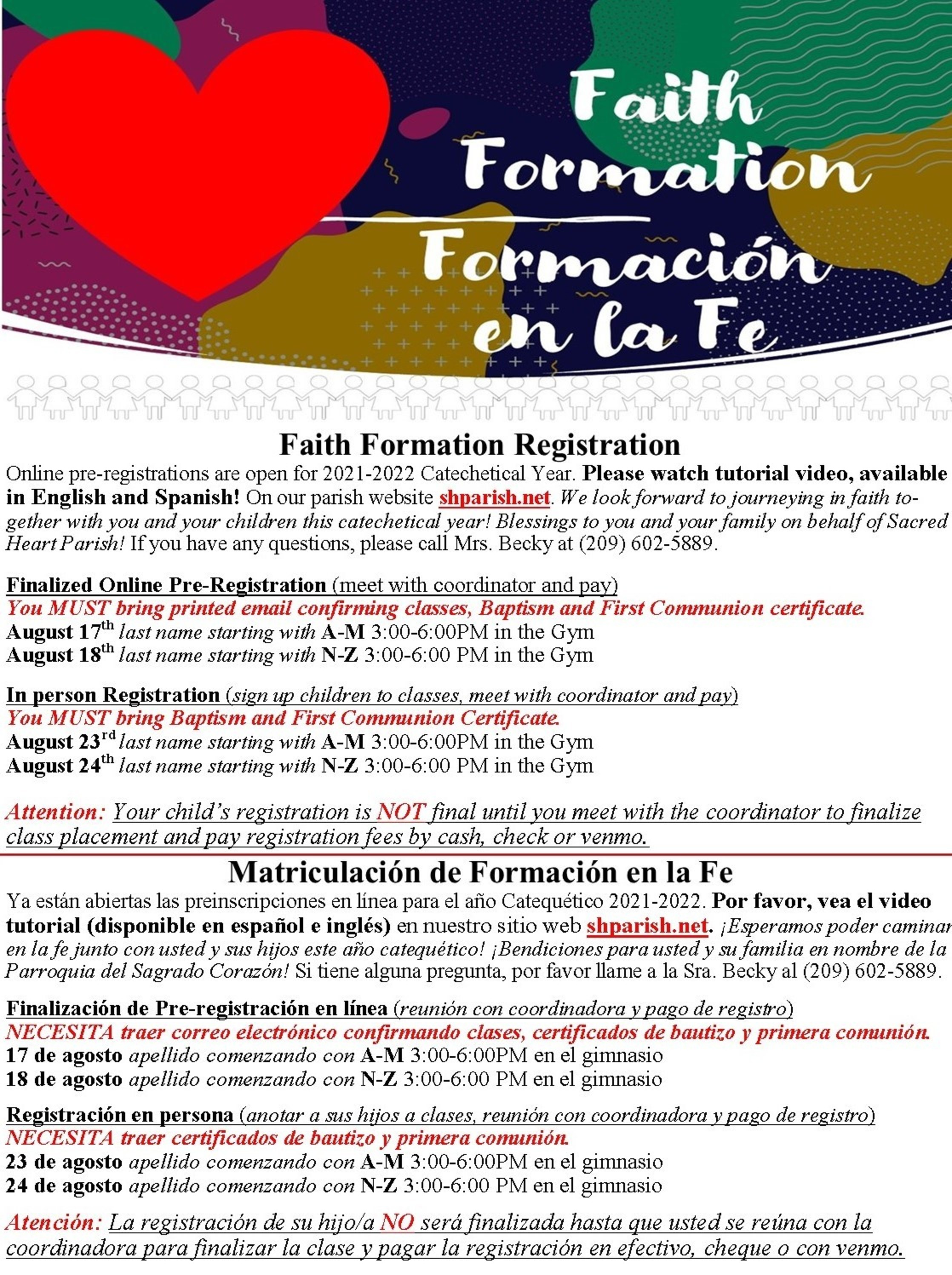 Faith Formation Registration For August 2021