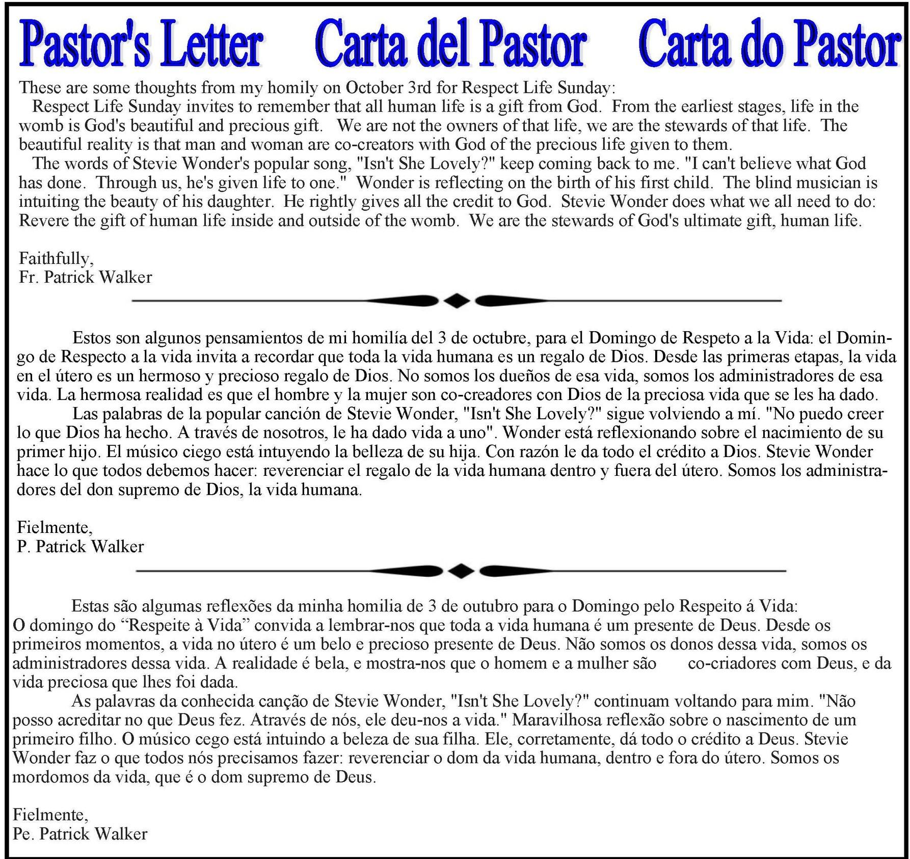 Pastors Message