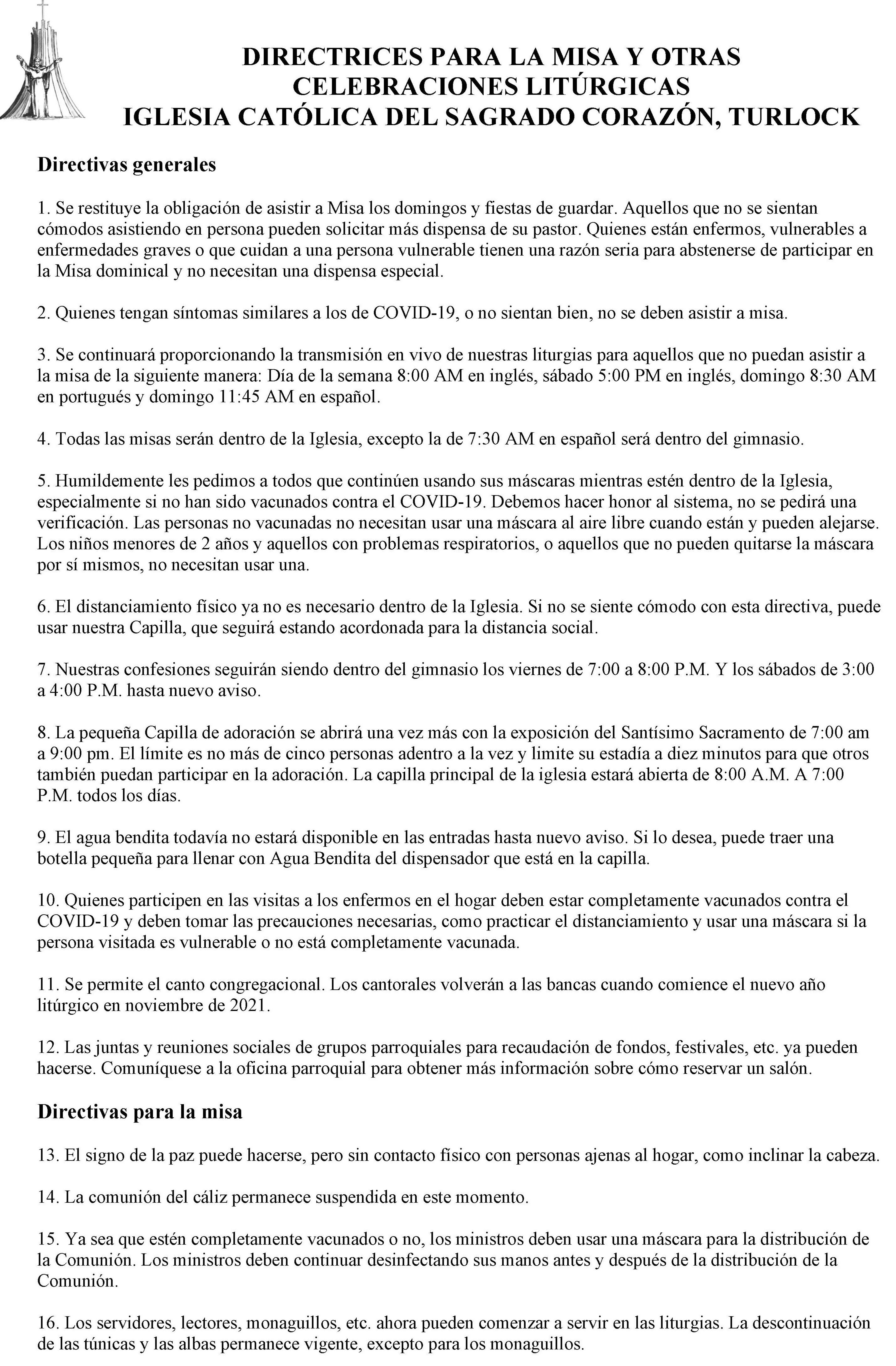 Directivas En Espanol 2021
