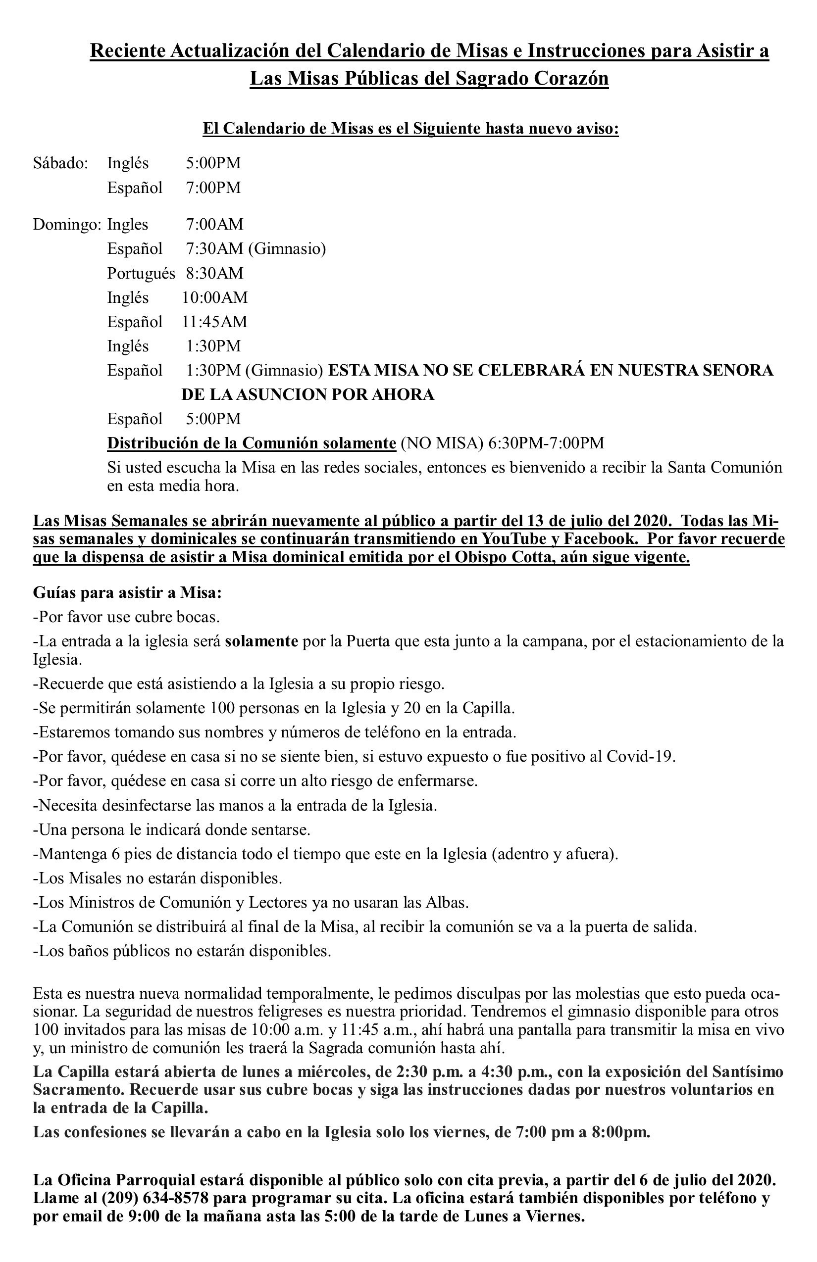 Public Mass Celebration Spanish 1 updated