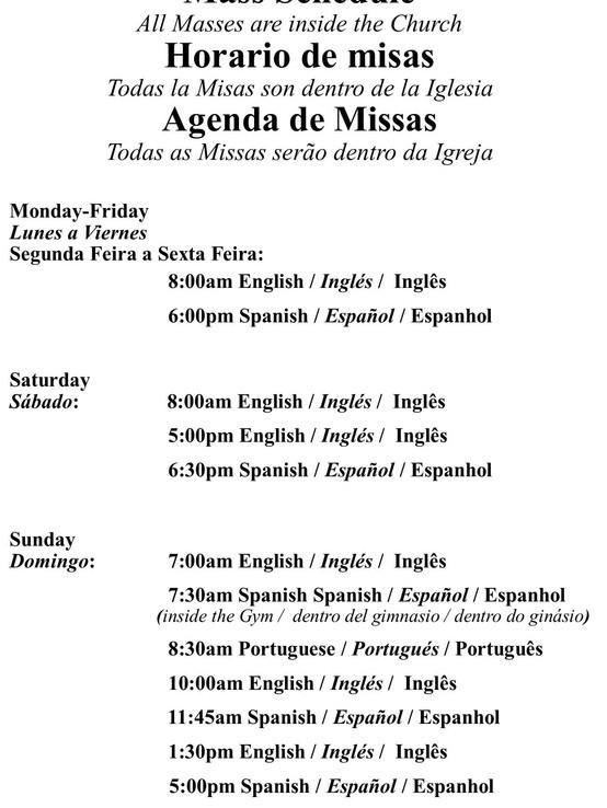 Mass Schedule 2021